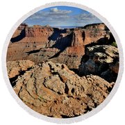 Shafer Canyon In Canyonlands Np Round Beach Towel