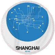 Shanghai Blue Subway Map Round Beach Towel