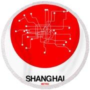 Shanghai Red Subway Map Round Beach Towel