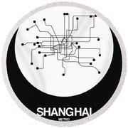 Shanghai White Subway Map Round Beach Towel