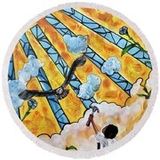 Shattered Skies Round Beach Towel
