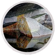 Shawanaga Rock And Reflections I Round Beach Towel
