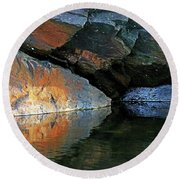 Shawanaga Rock And Reflections Xi Round Beach Towel
