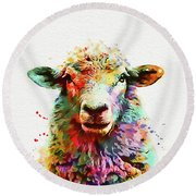 Sheep Portrait Round Beach Towel