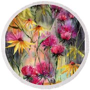 Shiny Rudbeckia And Thistle Round Beach Towel