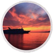 Ship At Mykonos Bay Mykonos Cyclades Greece  Round Beach Towel