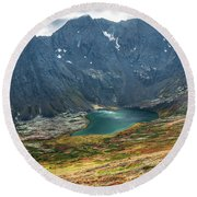 Ship Lake In Autumn Round Beach Towel by Tim Newton