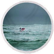 Shooting The Surf Round Beach Towel by Judy Hall-Folde