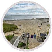 Shoreline Staircase By Uscg Station Chatham Cape Cod Massachusetts Round Beach Towel