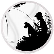 Silhouette Of A Boy Fishing With His Dog Round Beach Towel by Rose Santuci-Sofranko
