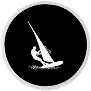 Silhouette Of A Sportsman Doing Windsurfing On His Board With Sail Round Beach Towel