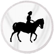 Silhouette Of A Woman On Horseback Round Beach Towel by Rose Santuci-Sofranko