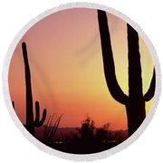 Silhouette Of Saguaro Cacti Carnegiea Round Beach Towel