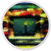 Silk-featherbrush Number 4 - All-night Vigil At The Lighthouse Blues Club Round Beach Towel