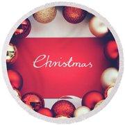 Silver Christmas Writing And Christmas Glass Balls. Round Beach Towel