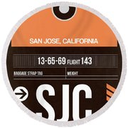 Sjc San Jose Luggage Tag II Round Beach Towel