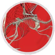 Skeleton Dragon With Red Round Beach Towel