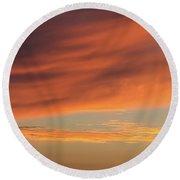 Skies Of Orange Round Beach Towel
