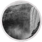 Skogafoss Iceland Black And White Round Beach Towel by Nathan Bush