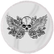 Skull And Wings Round Beach Towel
