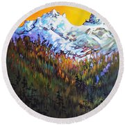 Sky Pilot And Co-pilot Peaks, Coastal Range, South Of Squamish, British Columbia Round Beach Towel