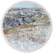 Slope County Snowfall Round Beach Towel
