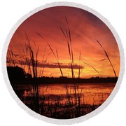 Slough Sunrise Round Beach Towel by James Peterson