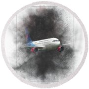 Slovak Government Flying Service Airbus A319-115 Painting Round Beach Towel