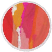 Slow Burn- Abstract Art By Linda Woods Round Beach Towel
