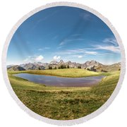 Small Lake In The Mountains Round Beach Towel