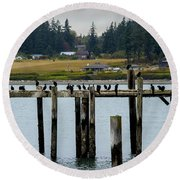 Small Village Along The Columbia River Round Beach Towel by Mae Wertz