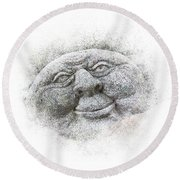 Smiling Stone Face Round Beach Towel