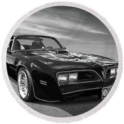 Smokey And The Bandit Trans Am In Mono Round Beach Towel