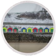 Snow At Barry Island Round Beach Towel