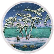 Snow At Hi Marsh, Mito - Digital Remastered Edition Round Beach Towel