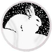 Snow Bunny Rabbit Holiday Winter Round Beach Towel