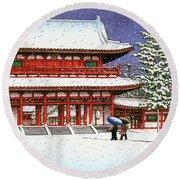 Snow In The Heianjingu Shrine - Digital Remastered Edition Round Beach Towel