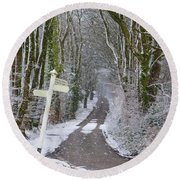 Snow In The Trees Round Beach Towel