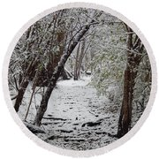 Snow In The Woods Round Beach Towel