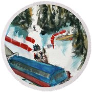 Snowbird Lift Study Round Beach Towel