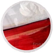 Snowflake With Red Round Beach Towel