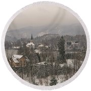 Snowy Bled In Slovenia Round Beach Towel
