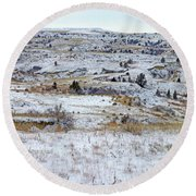 Snowy Slope County Round Beach Towel