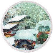 Softly Snowing On The Country Farm Round Beach Towel