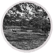 Solitude In Black And White Round Beach Towel