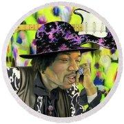 Sonic Exploration - A Jimi Hendrix Portrait Round Beach Towel