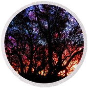 Sonoran Sunrise Ironwood Silhouette Round Beach Towel