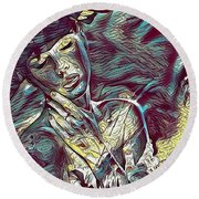 Sonya Portrait 2 Round Beach Towel