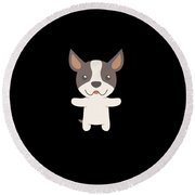 Sorry I Cant I Have Plans With My Boston Terrier Funny Dog Design Round Beach Towel