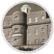South Carolina State Hospital Asylum Black And White Round Beach Towel by Lisa Wooten